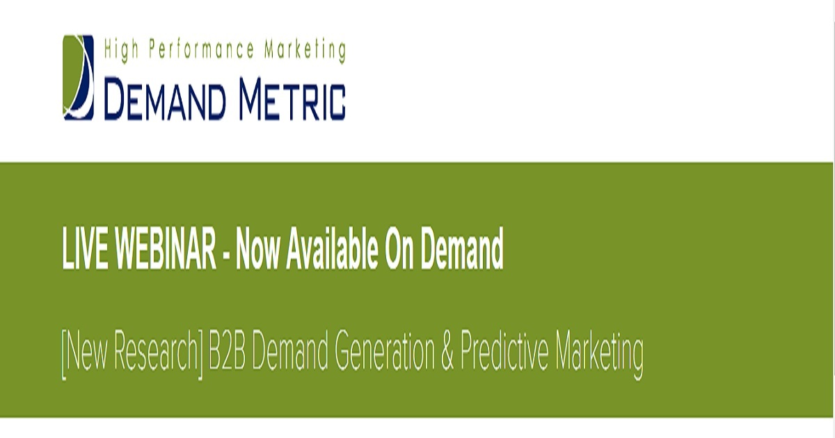 B2B Demand Generation & Predictive Marketing