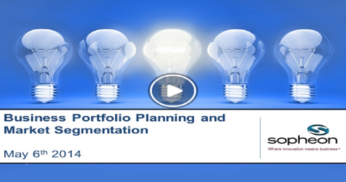Business Portfolio Planning & Market Segmentation