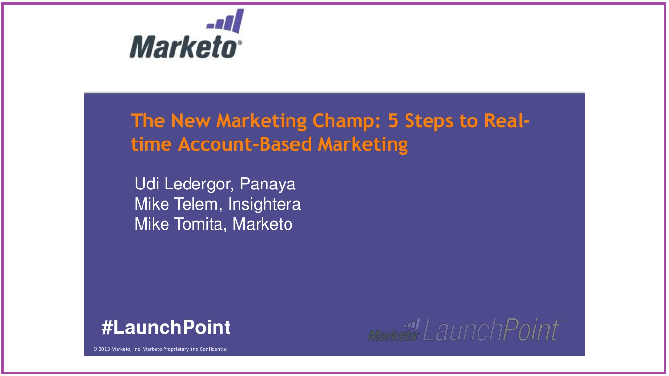 The New Marketing Champ: 5 Steps to Real-Time Account-Based Marketing