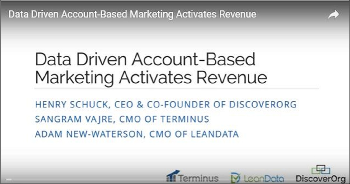 Data Driven Account-Based Marketing Activates Revenue