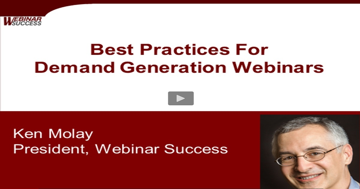 Best Practices for Demand Generation Webinars