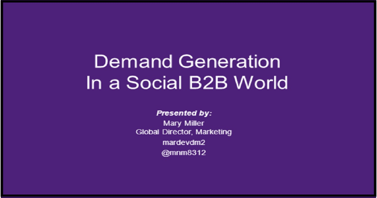 Demand generation in a social B2B world